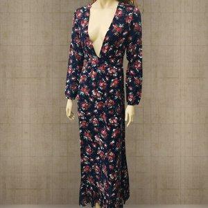 Платье длинное с длинными рукавами цвет: ТЕМНО-СИНИЙ С ЦВЕТАМИ
