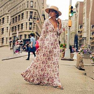 Платье длинное с длинными рукавами цвет: БЕЛЫЙ С ЦВЕТАМИ