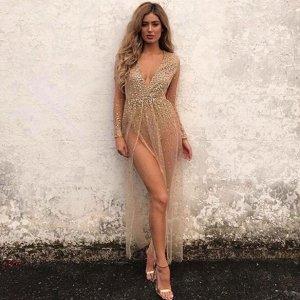 Платье длинное с длинными рукавами цвет: ХАКИ