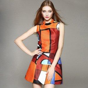 Платье короткое с короткими рукавами цвет: ОРАНЖЕВЫЙ