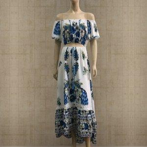 Платье длинное с короткими рукавами цвет: БЕЛЫЙ С СИНИМ УЗОРОМ