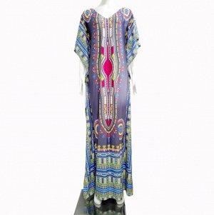 Платье длинное с рукавами типа летучая мышь цвет: СЕРЫЙ