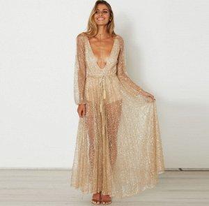 Платье длинное с длинными рукавами цвет: ЗОЛОТО
