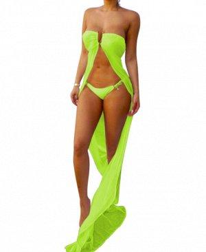 Платье длинное пляжное цвет: ЯРКО-ЗЕЛЕНЫЙ