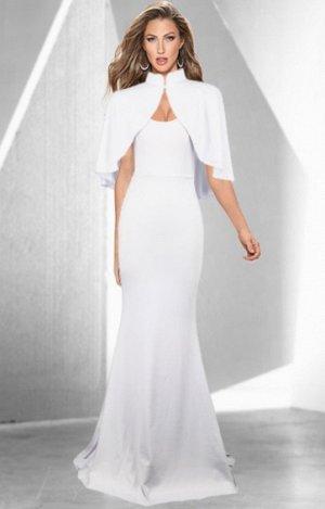 Платье длинное без рукавов с накидкой цвет: БЕЛЫЙ