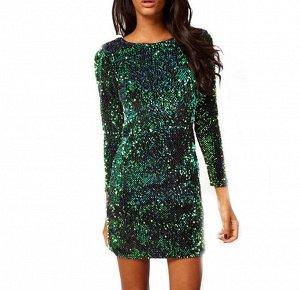 Платье короткое с рукавами 2/3 цвет: ЗЕЛЕНЫЙ