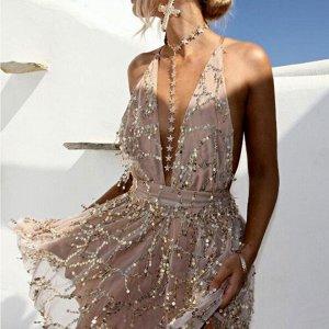 Платье короткое на бретельках цвет: ЗОЛОТО