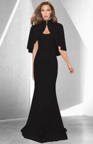 Платье длинное без рукавов с накидкой цвет: ЧЕРНЫЙ