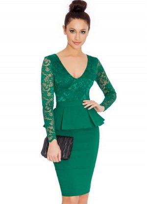 Платье средней длины с длинными рукавами цвет: ЗЕЛЕНЫЙ