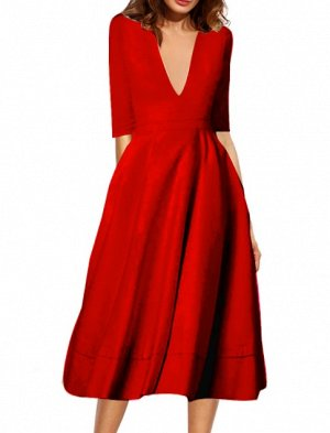 Платье длинное с рукавами 1/2 цвет: КРАСНЫЙ