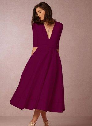 Платье длинное с рукавами 1/2 цвет: КРАСНОЕ ВИНО