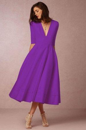 Платье длинное с рукавами 1/2 цвет: ФИОЛЕТОВЫЙ