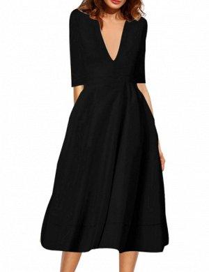 Платье длинное с рукавами 1/2 цвет: ЧЕРНЫЙ