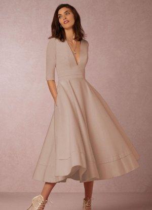 Платье длинное с рукавами 1/2 цвет: БЕЖЕВЫЙ