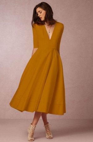 Платье длинное с рукавами 1/2 цвет: ЖЕЛТЫЙ