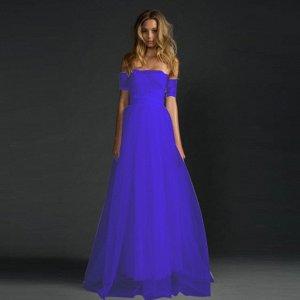 Платье длинное с открытыми плечами цвет: СИНИЙ