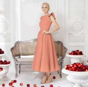 Платье длинное с короткими рукавами цвет: РОЗОВЫЙ