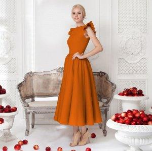 Платье длинное с короткими рукавами цвет: ОРАНЖЕВЫЙ
