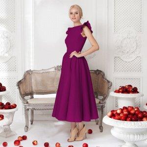 Платье длинное с короткими рукавами цвет: КРАСНОЕ ВИНО