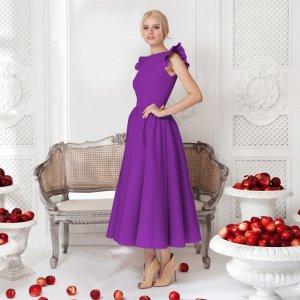 Платье длинное с короткими рукавами цвет: ФИОЛЕТОВЫЙ
