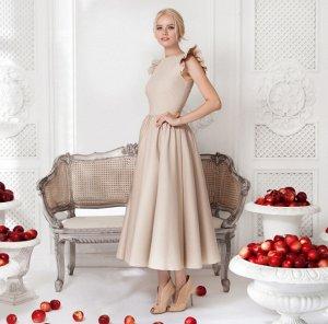 Платье длинное с короткими рукавами цвет: АБРИКОС