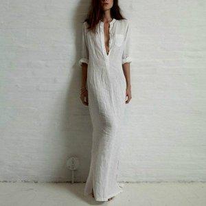 Платье длинное с длинными рукавами цвет: БЕЛЫЙ