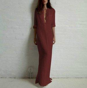 Платье длинное с длинными рукавами цвет: КРАСНОЕ ВИНО