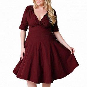 Платье средней длины с короткими рукавами цвет: КРАСНОЕ ВИНО