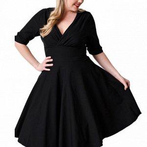 Платье средней длины с короткими рукавами цвет: ЧЕРНЫЙ