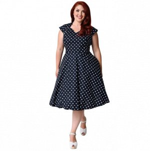 Платье средней длины с короткими рукавами цвет: ТЕМНО-СИНИЙ В ГОРОХ