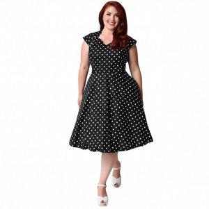 Платье средней длины с короткими рукавами цвет: ЧЕРНЫЙ В ГОРОХ