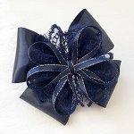 Красивый бант Венеция темно-синий резинка