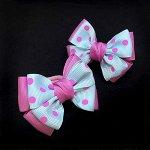 Бант для волос Малышка розовый с горохом зажим