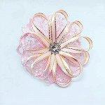 Бантик для волос Паутинка розовый зажим