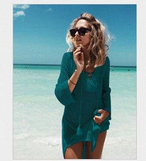 Вязаная пляжная туника с длинными рукавами цвет: ТЕМНОЗЕЛЕНЫЙ