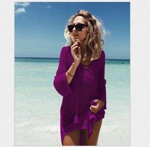 Вязаная пляжная туника с длинными рукавами цвет: ФИОЛЕТОВЫЙ