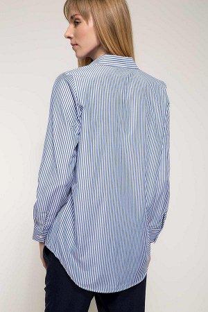 Рубашка в полоску с принтом и отделкой бисером