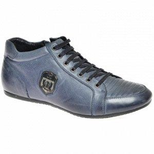 Ботинки синий спорт шнурок нат.кожа.нат.мех