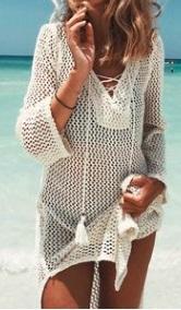 Вязаная пляжная туника с длинными рукавами Цвет: БЕЛЫЙ