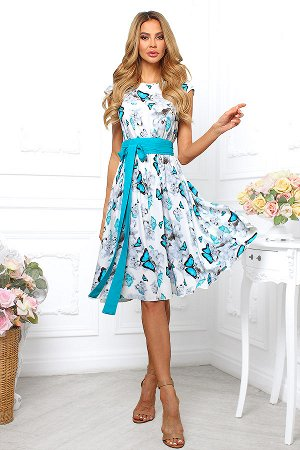 Платье хлопок бабочки бирюза