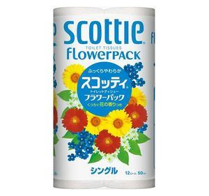 """Туалетная бумага Crecia """"Scottie FlowerPACK"""", однослойная 12 рул. (50м)"""