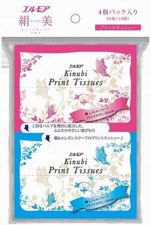 """002883 """"ELLEMOI"""" """"Kinubi Print Tissues"""" Бумажные двухсл. платочки с шелком10 шт. 4 пачки/упак 1/50"""