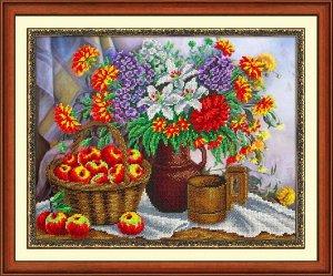 Набор (вышивка бисером) Яблоки и садовый букет