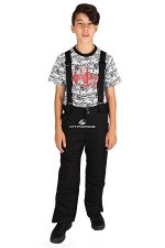 Подростковые для мальчика зимние горнолыжные брюки черного цвета