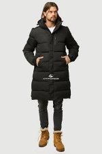 Мужская зимняя классика куртка удлиненная черного цвета