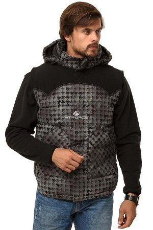 Мужская зимняя жилетка утепленная серого цвета