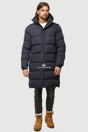 Мужская зимняя классика куртка удлиненная темно-синего цвета