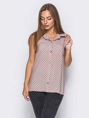 Оригинальная блузка без рукавов в горох.