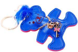 """Брелок на сумку """"Мишка"""", кожзам., синий,  8х8 см"""