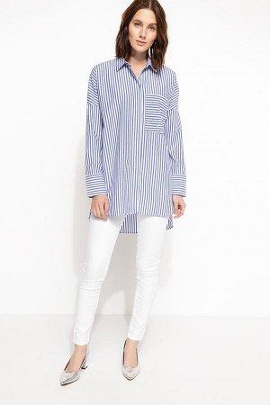 Рубашка женская в вертикальную полоску с отделкой кармана искусственным жемчугом